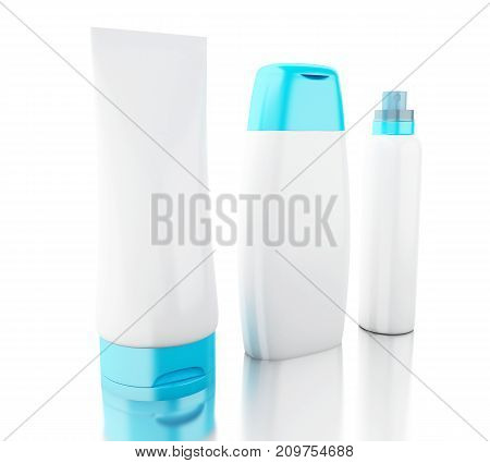3D Set Of Cosmetic Bottles. Template For Mock Up Your Design.