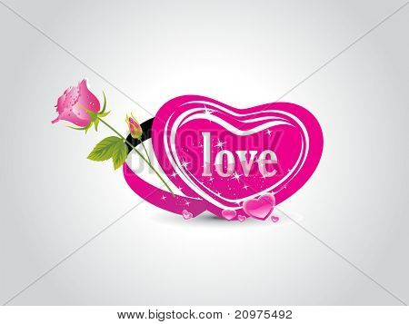 abstract grey background with romantic pink heart, pink rose