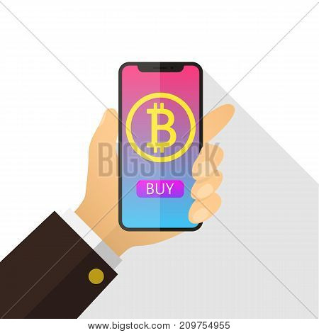 Concept of paying bitcoins in a flat style. Pay per click on virtual crypto currency. Hand smartphone with gold coin, purse.