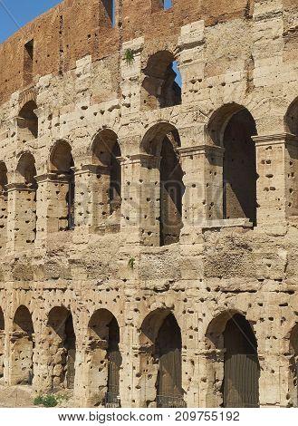 Facade Of The Roman Colosseum. Rome, Lazio, Italy.
