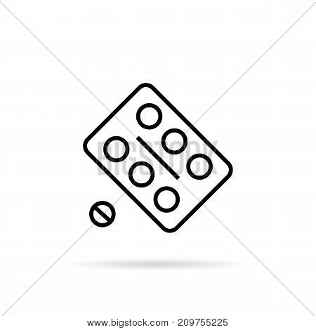 simple black thin line pill blister. concept of chemistry, recovery, dosage, disease, overdose, pharmacology. flat style trend modern logotype graphic design vector illustration on white background