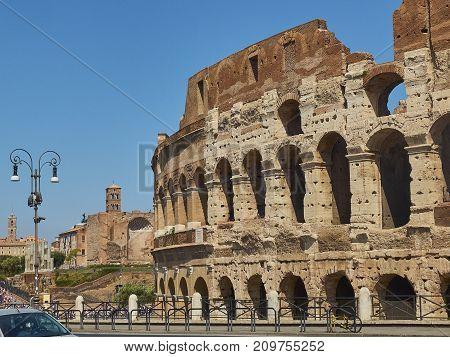 The Roman Colosseum, View From Via Celio Vibenna. Lazio.
