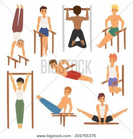 Cartoon horizontal chin-up strong athlete man gym doing bar exercise street workout tricks muscular fitness sport character vector illustration