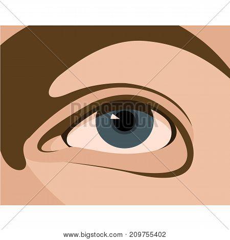 realistic eye women vector illustration style flat