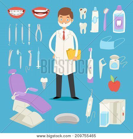 Cartoon dentist doctor character and stomatology equipment vector illustration. Medicine instrument and hygiene stomatology engineering symbols.
