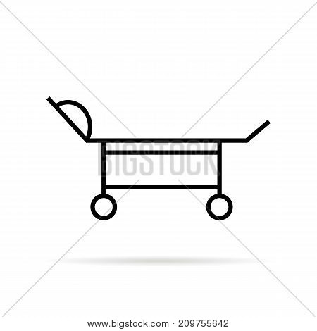 black thin line medical trolley. concept of poorhouse, surgery, illness, aid, physician, therapy, sick, almshouse, fracture. flat style trend modern logo design vector illustration on white background