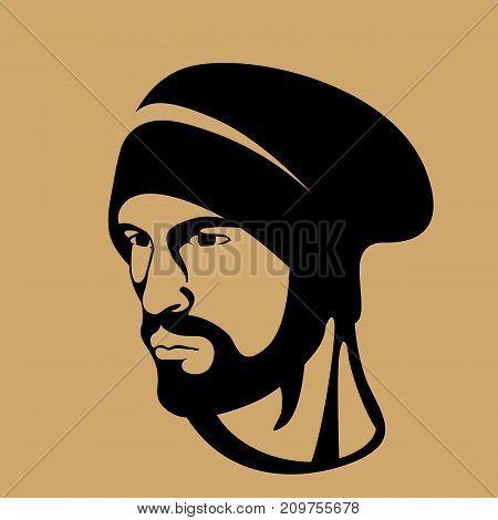 hipster men head face vector illustration profile side