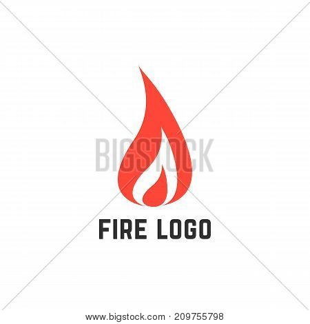 simple red fire logo. concept of accident, fiery, visual identity, fireball, flaming, combustion, ignition, inflammation. flat style trend modern brand design vector illustration on white background