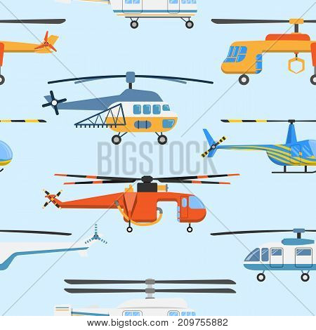 Helicopter air transport propeller aerial vehicle flying modern aviation military civil copter aircraft vector flat design. Speed service machine transportation. seamless pattern background