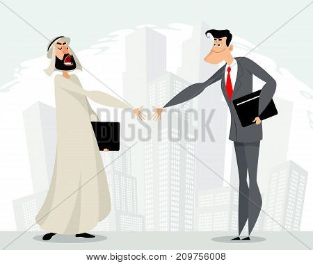 Vector illustration of mutual cooperation of businessmen