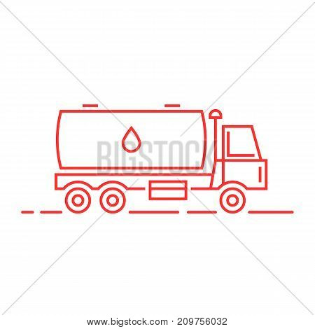 red thin line milk tanker. concept of distribution, large van, petrol haulage, engine, automotive, flammable shipment, drive. flat style trend logo design vector illustration on white background