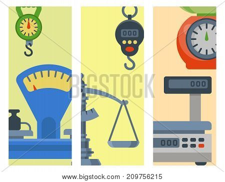 Flat decorative brochure of weight scales tools vector illustration. Measurement instrumentation. Precision icon balance kitchen food equipment.