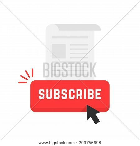 red subscribe newsletter button. concept of data feed, stream, journal, ad mark, support, sub, navigation, tabloid. flat style trend modern logo art design vector illustration on white background