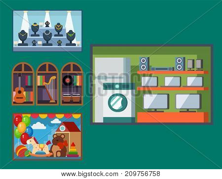 Vector flat design restaurant shops facade retro market building architecture window illustration. Modern awning exterior kiosk supermarket showcase.