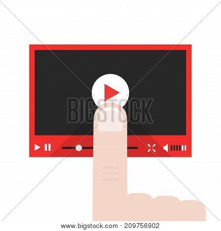 forefinger push on video player button. concept of e-learning, website ui, vision blog, commerce, news tv, training, record. flat style trend modern logo design vector illustration on white background