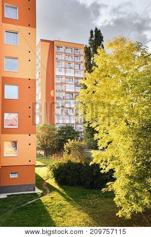 Chomutov, Czech Republic - September 20, 2017: Sonne Is Shining Between Trees And High-rise Houses I