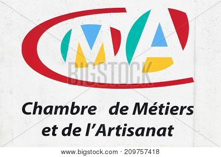 Montpellier,  France - May 31, 2017: Chamber of Trades and Crafts sign in French, France