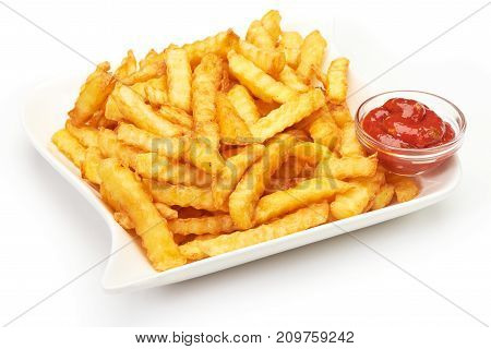 Potato Fries With Ketchup On White Background