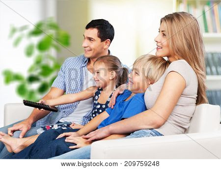 Beautiful love family lovely watching tv fun
