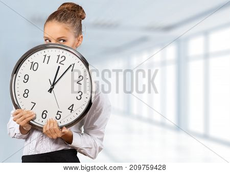 Clock big woman color fun background close-up
