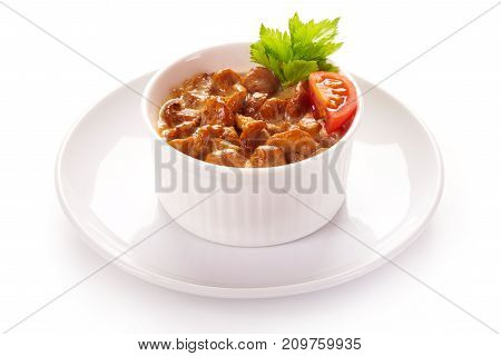 Chanterelle Mushroom Julienne With Herbs On White Background