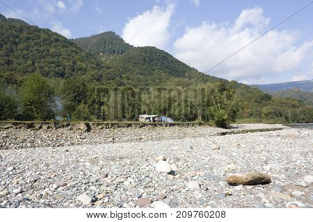 Beautiful landscape with river and mountains. The Belay river is in the North Caucasus, Beautiful landscape with river and mountains. The Belay river is in the North Caucasus,Krasnodar Krai, Adygea