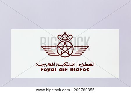 Lyon, France - May 27 2017: Royal air Maroc logo on a wall. Royal air Maroc is the flag carrier airline of Morocco