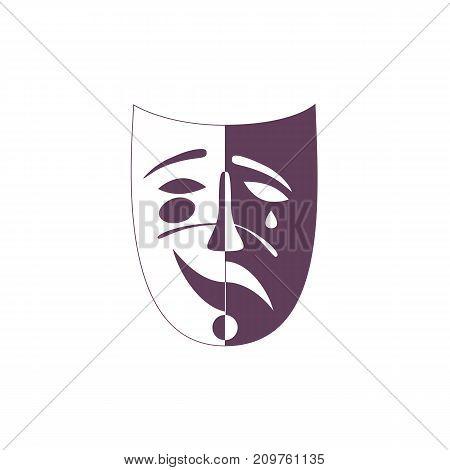 Carnival mask concept. Venice Masquerade symbol. Stylized freehand monochrome icon. Mardi Gras parade celebration emblem. Theater logo template. Holiday vector decorative element banner background