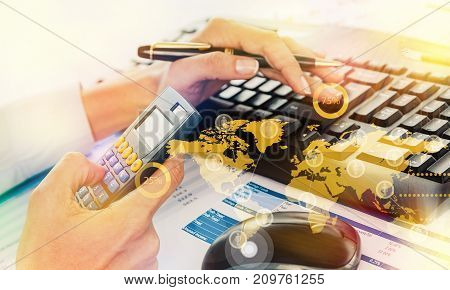 Woman working work calculator white computer number