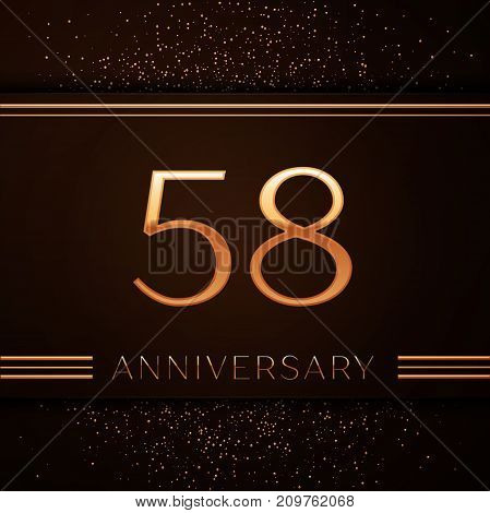 Realistic Fifty eight Years Anniversary Celebration Logotype. Golden numbers and golden confetti on brown background. Colorful Vector template elements for your birthday party