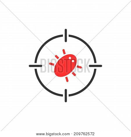 red bug in target. concept of cybercrime, parasite, destroy, harmful, mite, toxic, bloodsucker, encephalitis. flat style trend modern logotype graphic design vector illustration on white background
