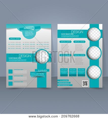 Flyer template. Business brochure. Editable A4 poster for design education, presentation, website, magazine cover. Green and silver color.