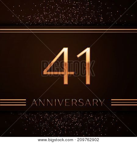 Realistic Forty one Years Anniversary Celebration Logotype. Golden numbers and golden confetti on brown background. Colorful Vector template elements for your birthday party