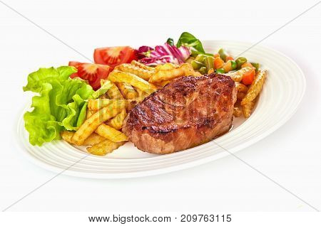 Grilled Pork Steak With Fries Isolated On White Background