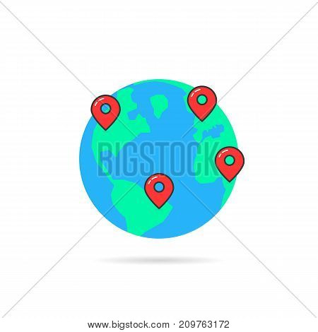 earth globus with map pins. concept of info, travelling tag, guide, vacation, voyage, tourism, ocean, geolocation. flat style trend modern logo graphic design vector illustration on white background