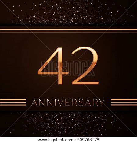 Realistic Forty two Years Anniversary Celebration Logotype. Golden numbers and golden confetti on brown background. Colorful Vector template elements for your birthday party