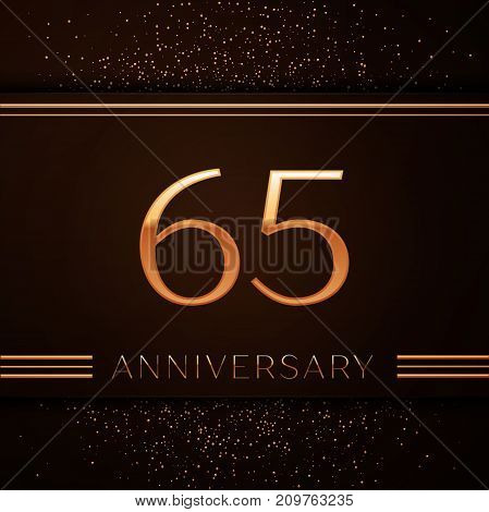 Realistic Sixty five Years Anniversary Celebration Logotype. Golden numbers and golden confetti on brown background. Colorful Vector template elements for your birthday party