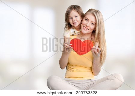 Daughter mother hugging color space bright love
