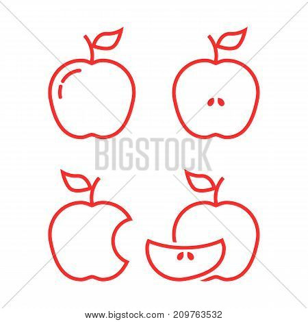 set of red linear apples. concept of snack, yummy, natural, nutritious, lunch, summer or autumn harvesting. flat lineart style trend modern logotype design vector illustration on white background