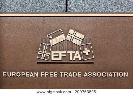 Luxembourg city, Luxembourg - July 22, 2017: EFTA sign on a wall. EFTA is free trade area organisation consisting of four European states: Iceland, Liechtenstein, Norway, and Switzerland
