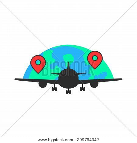 black airplane like global airlines. concept of tourist holiday, travelling, charter, speed, takeoff, voyage, wing. flat style modern logotype graphic design vector illustration on white background