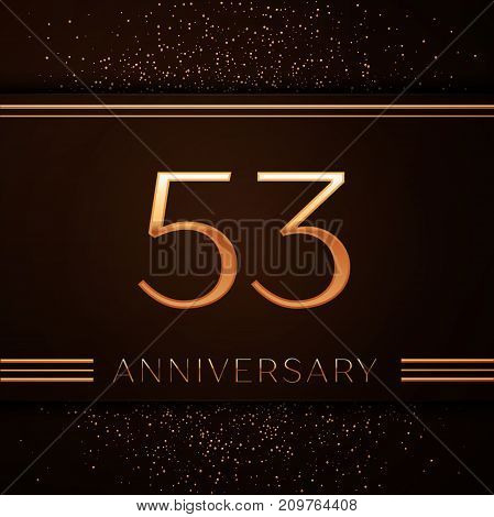 Realistic Fifty three Years Anniversary Celebration Logotype. Golden numbers and golden confetti on brown background. Colorful Vector template elements for your birthday party