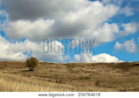 Landscape with beautiful fluffy clouds over autumn field