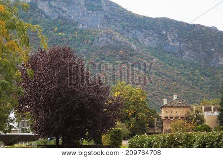 Autumn landscape from the central square of the town of Vratza, Bulgaria