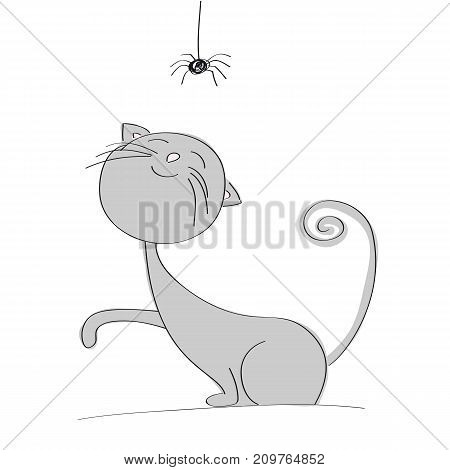 Cute gray cat playing with little black spider - original hand drawn illustration