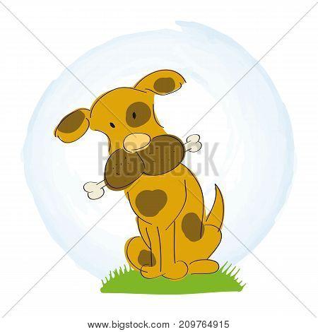 Cute little dog with bone - original hand drawn illustration