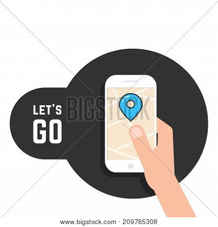 lets go like mobile game. concept of mapping, cartography tag, tracking, going, geolocation, roadmap, traffic, tour, player. flat style trend modern logo design vector illustration on white background
