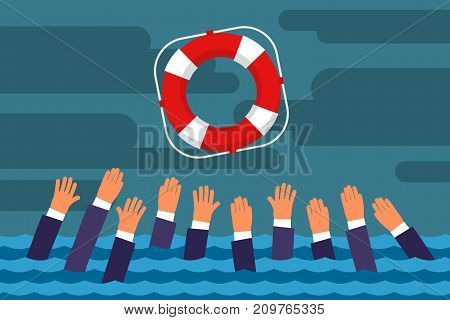 Helping Business survive. Drowning businessmen getting lifebuoy for help, support, and survival. Flat design, vector illustration.