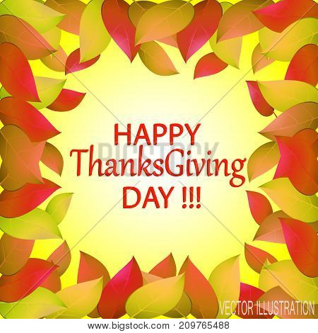 Happy Thanksgiving day. Autumn background with yellow leaves. Templates for place cards banners presentations reports.Stock vector illustration.