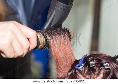 drying hair in a beauty salon . photo in the studio